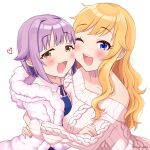 2girls :d asymmetrical_docking bangs bare_shoulders blonde_hair blue_eyes blush breast_press brown_eyes cheek-to-cheek coat collarbone commentary_request eyebrows_visible_through_hair fur-trimmed_coat fur_trim idolmaster idolmaster_cinderella_girls koshimizu_sachiko long_hair long_sleeves looking_at_viewer multiple_girls nako_narita off-shoulder_sweater off_shoulder ootsuki_yui open_mouth shiny shiny_hair short_hair simple_background smile sweater upper_body upper_teeth white_sweater
