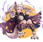 1girl animal_ears belt collar fang fire_emblem fire_emblem_awakening fire_emblem_heroes full_body fur_trim gloves gonzarez grima_(fire_emblem) halloween_costume highres long_sleeves open_mouth paw_gloves paws red_eyes robin_(fire_emblem) robin_(fire_emblem)_(female) shorts simple_background solo tail twintails white_hair wolf_ears wolf_tail