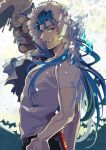 1boy akira_(nyaaspiece) alternate_costume bat blue_hair capelet cu_chulainn_(fate)_(all) cu_chulainn_(fate/grand_order) earrings fang fate/grand_order fate_(series) from_side fur-trimmed_hood fur_trim gae_bolg_(fate) grin hood hooded_capelet jewelry long_hair looking_at_viewer male_focus muscular open_mouth red_eyes shirt short_sleeves signature smile solo staff t-shirt transformation