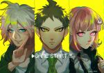 !! 1girl 2boys ahoge bangs baru_(bar_0405) black_jacket coat collarbone collared_shirt commentary_request danganronpa_(series) danganronpa_2:_goodbye_despair english_text frown green_coat green_hair green_neckwear grey_eyes grin hair_ornament hairclip hand_up highres hinata_hajime index_finger_raised jacket komaeda_nagito light_brown_hair looking_at_viewer messy_hair multiple_boys nanami_chiaki neck_ribbon necktie open_clothes open_coat open_jacket pink_eyes pink_ribbon ribbon shirt short_hair smile teeth two-tone_shirt yellow_background