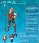 1boy 1girl animal_ears arm_behind_back armor artist_name blue_eyes character_name character_profile digitigrade dog_ears dog_girl english_text fang fur_collar gen_1_pokemon greaves growlithe hat heart heart-shaped_pupils highres holding holding_spear holding_weapon juliet_sleeves kinkymation long_sleeves orange_hair personification poke_ball poke_ball_(basic) pokemon polearm puffy_sleeves purple_hair scale_armor single_pauldron smile spear symbol-shaped_pupils tail visor_(armor) weapon