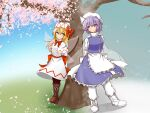 2girls apron arms_behind_back bangs black_legwear blonde_hair blue_dress blue_eyes blurry blurry_background boots bow bowtie brown_footwear cherry_blossoms closed_mouth cross-laced_footwear dress full_body highres letty_whiterock lily_white long_hair looking_at_another multiple_girls murasame0603 petticoat purple_hair red_bow red_neckwear short_hair smile snow snowing standing touhou tree violet_eyes waist_apron white_apron white_dress white_footwear white_headwear white_legwear
