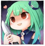 1girl :3 :d bangs blue_dress blush_stickers brooch crazy_eyes dark_background detached_collar detached_sleeves double_bun dress eyebrows_visible_through_hair fang green_hair hair_ornament hair_ribbon holding holding_knife holding_weapon hololive jewelry knife looking_away no_pupils open_mouth red_eyes ribbon short_hair short_hair_with_long_locks skull_hair_ornament skull_necklace smile solo strapless strapless_dress tonton_(tonz159) upper_body uruha_rushia virtual_youtuber weapon yandere