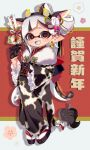 1girl 2020 :d animal_ears animal_print arrow_(projectile) artist_name asymmetrical_bangs bangs black_footwear black_gloves brown_eyes cow_ears cow_horns cow_print cow_tail domino_mask earrings ema fake_animal_ears fake_horns fang frilled_sleeves frills full_body fur_shawl gloves grey_tongue hagoita hair_ornament happy_new_year holding holding_arrow horns inkling japanese_clothes jewelry kimono long_hair long_sleeves looking_at_viewer maco_spl mask mole mole_under_eye new_year obi open_mouth paddle pointy_ears print_kimono sandals sash shadow silver_hair smile solo splatoon_(series) standing tabi tail tentacle_hair translated very_long_hair white_legwear