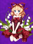 1girl bangs black_ribbon blonde_hair blue_eyes bow bowtie eyebrows_visible_through_hair flower full_body hair_ribbon highres holding holding_flower legs_up lily_of_the_valley looking_at_viewer medicine_melancholy open_mouth petticoat purple_background red_bow red_footwear red_neckwear red_ribbon red_skirt ribbon ribbon-trimmed_shirt ribbon-trimmed_skirt ribbon_trim ruu_(tksymkw) short_sleeves skirt smile solo touhou white_flower white_legwear