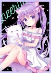 1girl :> bell black_background blush cat_ears cat_tail collarbone cute doll lollipop looking_at_viewer purple_eyes purple_hair smile twintails white_dress