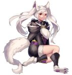 1girl animal_ears collar fire_emblem fire_emblem_awakening fire_emblem_heroes fur_trim grima_(fire_emblem) halloween_costume highres red_eyes robin_(fire_emblem) robin_(fire_emblem)_(female) shorts simple_background solo spiffydc tail twintails twitter_username white_background white_hair wolf_ears wolf_tail
