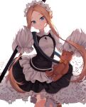 1girl abigail_williams_(fate) bangs black_skirt blonde_hair blue_eyes blush breasts decora_(decopining) dress fate/grand_order fate_(series) forehead heroic_spirit_festival_outfit highres long_hair long_sleeves looking_at_viewer maid octopus parted_bangs sidelocks skirt small_breasts smile stuffed_animal stuffed_toy teddy_bear white_dress
