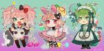 ... 1boy 2girls absurdres alternate_costume amami_rantarou apron bangs baru_(bar_0405) black_bow blood bow broccoli broom bunny_hair_ornament chibi commentary_request cosplay danganronpa:_trigger_happy_havoc danganronpa_(series) danganronpa_2:_goodbye_despair danganronpa_v3:_killing_harmony dress enmaided enoshima_junko enoshima_junko_(cosplay) flower frilled_dress frills gradient gradient_background green_background green_dress green_eyes green_flower hair_bow hair_ornament highres huge_filesize ikusaba_mukuro light_brown_hair long_sleeves looking_at_viewer maid maid_apron maid_headdress messy_hair monokuma monotarou_(danganronpa) multiple_girls nanami_chiaki one_eye_closed pac-man pink_background pink_blood pink_dress pink_eyes pink_footwear pink_hair red_bow red_flower red_nails scarf short_hair smile soap_bottle spoken_ellipsis tongue tongue_out twintails usami_(danganronpa) v white_apron