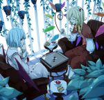 2girls armchair blonde_hair blue_hair blurry board_game boots capelet chair closed_eyes cookie cross-laced_footwear cup depth_of_field drink duplicate flandre_scarlet food hair_ribbon hanging_plant head_rest leaf multiple_girls neck_ribbon no_hat no_headwear plant playing_games potted_plant red_eyes remilia_scarlet reversi ribbon sakuraba_yuuki saucer short_hair siblings side_ponytail sisters sitting skirt skirt_set spoon table teacup touhou wings