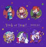 3boys 3girls annette_fantine_dominic bandages basket bernadetta_von_varley black_hair blue_eyes blue_hair candy caspar_von_bergliez chibi closed_eyes closed_mouth dress fang felix_hugo_fraldarius fire_emblem fire_emblem:_three_houses food grey_eyes halloween_costume hat hiyori_(rindou66) holding hood hood_up lollipop long_hair long_sleeves lysithea_von_ordelia multiple_boys multiple_girls mummy_costume one_eye_closed open_mouth orange_hair pink_eyes purple_hair redhead short_hair sylvain_jose_gautier trick_or_treat twintails white_hair witch_hat