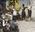 4boys 4girls :d amazingartistyellow black_footwear black_gloves black_hair black_jacket black_pants black_vest blonde_hair blue_hair boots canvas_(object) claude_von_riegan commentary english_commentary fire_emblem fire_emblem:_three_houses garreg_mach_monastery_uniform glasses gloves grey_hair hilda_valentine_goneril holding ignatz_victor indoors jacket leonie_pinelli long_hair long_sleeves lorenz_hellman_gloucester lysithea_von_ordelia marianne_von_edmund multiple_boys multiple_girls open_mouth orange_hair pallet pants pink_hair purple_hair raphael_kirsten scabbard sheath sheathed shirt short_hair short_sleeves silver_hair smile suspenders sword t-pose twintails vest weapon white_shirt
