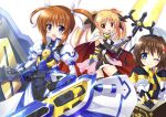 3girls ;) armor armored_dress bardiche beret black_dress black_gloves black_ribbon blue_eyes cape commentary_request dress endori fingerless_gloves fortress_(nanoha) gauntlets gloves hair_ornament hair_ribbon hat holding holding_weapon jacket juliet_sleeves long_dress long_hair long_sleeves looking_at_viewer lyrical_nanoha magical_girl mahou_shoujo_lyrical_nanoha mahou_shoujo_lyrical_nanoha_reflection multiple_girls one_eye_closed open_mouth partial_commentary puffy_sleeves red_cape ribbon short_dress short_hair sidelocks simple_background sleeveless sleeveless_dress smile standing strike_cannon takamachi_nanoha tome_of_the_night_sky twintails two-sided_cape two-sided_fabric violet_eyes weapon white_background white_cape white_dress white_headwear white_jacket white_ribbon x_hair_ornament yagami_hayate