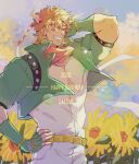 1boy 2020 arm_behind_head battle_tendency belt birthday blonde_hair bubble caesar_anthonio_zeppeli character_name chinese_commentary closed_eyes commentary_request cropped_jacket english_text facial_mark feathers fingerless_gloves flower gloves green_gloves green_jacket grin grura hair_feathers hand_on_hip happy happy_birthday headband highres jacket jojo_no_kimyou_na_bouken male_focus multiple_sources pants pink_scarf scarf shirt short_hair smile solo sunflower triangle_print upper_body white_pants white_shirt yellow_flower