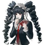1girl bangs black_hair black_jacket black_nails blunt_bangs blush bonnet card celestia_ludenberg commentary_request danganronpa:_trigger_happy_havoc danganronpa_(series) drill_hair eyebrows_visible_through_hair gothic_lolita grey_background holding holding_card jacket lolita_fashion long_hair long_sleeves malga_(milky721) necktie open_clothes open_jacket parted_lips red_eyes red_neckwear shirt simple_background solo twin_drills upper_body white_shirt