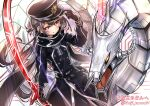 1girl belt blush cyber_dragon duel_monster fuji_tarawi gloves hat highres long_hair looking_at_viewer low_twintails machine peaked_cap red_eyes scarf silver_hair sky_striker_ace_-_roze sword twintails very_long_hair weapon yu-gi-oh!