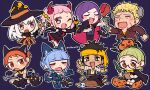 4boys 4girls animal_ears bandages bat blonde_hair blue_hair braid brown_eyes brown_hair cape cat cat_ears cat_tail chibi claude_von_riegan clipboard closed_eyes coin cookie crown_braid demon_horns demon_tail do_m_kaeru dress fake_horns fake_tail fang fire_emblem fire_emblem:_three_houses food glasses green_eyes green_hair halloween_costume hat hilda_valentine_goneril holding holding_staff horns ignatz_victor jack-o'-lantern leonie_pinelli long_hair long_sleeves lorenz_hellman_gloucester lysithea_von_ordelia marianne_von_edmund multiple_boys multiple_girls one_eye_closed open_mouth orange_eyes orange_hair pink_eyes pink_hair purple_hair raphael_kirsten short_hair simple_background staff tail treasure_chest twintails twitter_username white_hair witch_hat