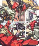 1girl 4boys black_eyes black_hair breasts brown_shirt character_request clenched_hand colored_skin copyright_request crop_top crossover english_commentary eyepatch furry ghost_in_the_shell green_eyes gun gundam gundam_barbatos gundam_barbatos_lupus gundam_tekketsu_no_orphans hammond_(overwatch) hamster handgun hellboy hellboy_(comic) highres holding holding_gun holding_weapon jacket kubo_(kubo_and_the_two_strings) kubo_and_the_two_strings kusanagi_motoko leaning_back mecha multiple_boys multiple_crossover one_eye_covered open_hand overwatch pistol purple_hair red_eyes red_jacket red_skin science_fiction shirt sideburns six_fanarts_challenge small_breasts smoking tan_zhi_hui tied_hair v-fin weapon wrecking_ball_(overwatch) yellow_eyes
