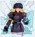 action arm_up blonde_hair clenched_hand fighting_stance hidden_eyes ice kolin long_hair michaelfirman russian_clothes signature street_fighter street_fighter_v winter_clothes