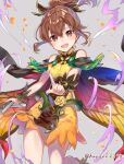 1girl alternate_costume armor bare_shoulders blush book breastplate brown_eyes brown_hair cape commentary_request delthea_(fire_emblem) dress eyebrows_behind_hair fang fire_emblem fire_emblem_echoes:_shadows_of_valentia fire_emblem_heroes grey_background haru_(nakajou-28) highres holding holding_book index_finger_raised open_book open_mouth orange_dress ponytail simple_background twitter_username