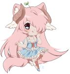1girl :p animal_ears backpack blue_eyes blush boots chibi cutesu dress hair_over_one_eye hand_on_own_cheek horns leaf_on_head madoka_(sinamuna) original pink_hair plant_on_head solo sprout sprout_on_head symbol-shaped_pupils tail tongue wing_ears winged_backpack winged_boots winged_footwear wings