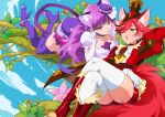 2girls animal_ears anklet bangs bike_shorts boots cat_ears cat_tail cure_chocolat cure_macaron dog_ears elbow_gloves fur-trimmed_boots fur_trim gloves hair_ornament hair_over_one_eye hat high_heel_boots high_heels in_tree jewelry kirakira_precure_a_la_mode mini_hat mini_top_hat multiple_girls mutyakai one_eye_closed precure purple_hair reclining red_eyes redhead tail thigh-highs thigh_boots top_hat tree violet_eyes