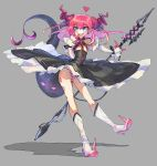 1girl :d absurdres black_dress blue_eyes boots closed_eyes detached_sleeves dragon_girl dragon_horns dragon_tail dress earrings elizabeth_bathory_(fate) elizabeth_bathory_(fate)_(all) eyebrows_visible_through_hair fang fate/extra fate/extra_ccc fate_(series) flat_chest floating_hair full_body grey_background hair_ribbon hand_up heart high_heel_boots high_heels highres holding holding_spear holding_weapon horns jewelry knee_boots large_tail long_hair long_sleeves looking_at_viewer nichi_(hibi_suimin) open_mouth outstretched_arm panties pink_hair pointy_ears polearm purple_horns purple_ribbon ribbon sarkany_csont_landzsa shadow simple_background skin_fang skinny smile solo spear striped striped_panties tail underwear weapon white_footwear