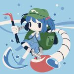 1girl backpack bag blue_footwear blue_hair blue_shirt blue_skirt boots chibi cobalta collar crowbar green_headwear hair_bobbles hair_ornament hat kawashiro_nitori key mechanical_arms shirt short_hair skirt touhou two_side_up water water_drop white_collar wrench