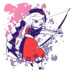 1girl arrow_(projectile) bangs belt blue_dress blue_headwear bow_(weapon) braid constellation_print dress frilled_dress frills full_body hat holding holding_bow_(weapon) holding_weapon kuroiwairuhito1 long_hair multicolored multicolored_clothes multicolored_dress nurse_cap red_cross red_dress short_sleeves single_braid solo standing touhou trigram two-tone_dress v-shaped_eyebrows very_long_hair weapon white_background white_belt white_hair yagokoro_eirin yellow_eyes