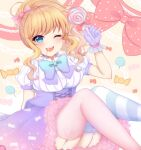 1girl ;d arm_support bangs blonde_hair blue_eyes blush bow bowtie breasts candy candy_print commentary_request eyebrows_visible_through_hair feet_out_of_frame food garter_straps gloves hand_up highres idolmaster idolmaster_cinderella_girls komari_mhy large_breasts lollipop long_hair looking_at_viewer mismatched_legwear one_eye_closed ootsuki_yui open_mouth pink_gloves polka_dot polka_dot_bow puffy_short_sleeves puffy_sleeves short_sleeves smile solo striped striped_legwear swirl_lollipop thigh-highs