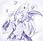 1girl :t animal_ear_fluff animal_ears arrow_(symbol) bangs bare_shoulders blush bow breasts closed_mouth commentary_request detached_sleeves eating eyebrows_visible_through_hair fate/extra fate_(series) food fox_ears fox_girl fox_tail hair_between_eyes hair_bow hand_on_own_cheek hand_on_own_face hands_up haryuu_(poetto) heart highres holding holding_food japanese_clothes juliet_sleeves kimono long_hair long_sleeves medium_breasts monochrome ponytail puffy_sleeves solo tail tail_raised tamamo_(fate)_(all) tamamo_no_mae_(fate) translation_request very_long_hair wavy_mouth wide_sleeves