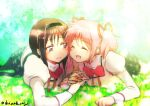 2girls ^_^ akemi_homura arm_support black_hair black_hairband black_legwear black_skirt blurry blurry_background cheek-to-cheek clenched_hand closed_eyes closed_mouth depth_of_field dot_nose eyebrows_visible_through_hair facing_viewer field flat_chest flower flower_field garden grass hair_ribbon hairband happy high_collar holding_hands juliet_sleeves kaname_madoka laughing light_blush light_particles light_rays light_smile long_sleeves looking_at_another looking_to_the_side lying mahou_shoujo_madoka_magica mitakihara_school_uniform multiple_girls neck_ribbon oka_(umanihiki) on_stomach open_mouth outdoors pink_hair plaid plaid_skirt puffy_sleeves red_ribbon ribbon school_uniform skirt sunlight tareme twintails twitter_username uniform violet_eyes white_flower white_legwear yuri