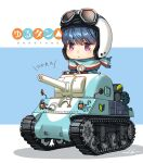 1girl blue_hair chibi goggles goggles_on_headwear ground_vehicle helmet kws m4_sherman military military_vehicle motor_vehicle motorcycle_helmet parody scarf shima_rin shoshinsha_mark simple_background solo tank title_parody translated violet_eyes yurucamp