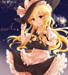 apron black_dress blonde_hair bow braid buttons character_name dress frilled_dress frills hair_bow haru_(nakajou-28) hat hat_bow highres kirisame_marisa long_hair playing_with_own_hair puffy_sleeves short_sleeves side_braid single_braid sky star_(sky) star_(symbol) starry_sky touhou waist_apron white_bow witch_hat yellow_eyes
