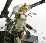 1girl aegis_(persona) android bangs blonde_hair blue_eyes breasts chain_gun duplicate english_commentary floating_hair gradient gradient_background hairband highres joints looking_ahead mecha_musume medium_breasts missile_pod necktie open_hands persona persona_3 qosic red_neckwear robot robot_joints short_hair solo