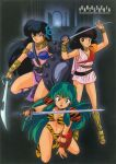 1980s_(style) 3girls adapted_costume armor bikini bikini_armor black_eyes black_hair blue_eyes boots bracelet brown_hair character_name choker copyright_name hair_ornament highres holding holding_shield holding_sword holding_weapon jewelry kneeling lipstick long_hair looking_at_viewer lum makeup medium_hair miyake_shinobu multiple_girls official_art open_mouth open_toe_shoes red_lips retro_artstyle sakura_(urusei_yatsura) sheer_clothes shield smile standing strapless strapless_bikini swimsuit sword tiger_stripes urusei_yatsura weapon