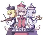 3girls absurdres bangs black_headwear black_skirt black_vest blonde_hair blue_eyes bow bow_(instrument) bright_pupils brown_hair buttons closed_mouth cowboy_shot crescent_moon eyebrows_behind_hair falling_star frilled_hat frills from_side grey_hair hat highres holding holding_instrument instrument kame_(kamepan44231) keyboard_(instrument) long_sleeves looking_at_viewer lunasa_prismriver lyrica_prismriver merlin_prismriver moon multiple_girls music pink_headwear pink_skirt pink_vest playing_instrument red_eyes red_headwear red_skirt red_vest shirt short_hair simple_background skirt skirt_set smile standing touhou trumpet vest violin white_background white_shirt wings yellow_eyes