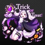 1girl animal_ears belt candy cookie cupcake fire_emblem fire_emblem_awakening fire_emblem_heroes food full_body fur_trim gloves grima_(fire_emblem) halloween_costume highres lollipop long_sleeves open_mouth paw_gloves paws red_eyes robin_(fire_emblem) robin_(fire_emblem)_(female) shorts silvercandy_gum solo tail thigh_strap trick_or_treat twintails white_hair wolf_ears wolf_tail