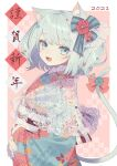 1girl 2021 absurdres animal_ears bangs blue_bow blue_eyes blue_nails bow cat_ears cat_girl cat_tail eyebrows_visible_through_hair fang floral_print flower hair_bow hair_flower hair_ornament highres hinakano_h huge_filesize japanese_clothes kimono lace light_blue_hair long_sleeves looking_at_viewer medium_hair nail_polish open_mouth original pink_bow shawl shiny shiny_hair solo tail tail_bow tail_ornament translation_request two_side_up upper_body