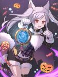 1girl absurdres animal_ears belt candy collar fire_emblem fire_emblem_awakening fire_emblem_heroes food fur_trim gloves grima_(fire_emblem) halloween_costume highres long_sleeves open_mouth paw_gloves paws red_eyes robin_(fire_emblem) robin_(fire_emblem)_(female) shira_yu_ki shorts solo tail thigh_strap twintails white_hair wolf_ears wolf_tail