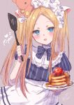 1girl :d abigail_williams_(fate) apron bangs black_bow black_shirt blonde_hair blue_eyes blush bow breasts commentary_request eyebrows_visible_through_hair fate/grand_order fate_(series) food forehead grey_background hair_bow highres holding holding_plate ittokyu long_hair looking_at_viewer multiple_bows nyan open_mouth pancake parted_bangs plate puffy_short_sleeves puffy_sleeves shirt short_sleeves sidelocks simple_background small_breasts smile solo spatula stack_of_pancakes striped striped_bow striped_shirt stuffed_animal stuffed_toy teddy_bear twintails vertical-striped_shirt vertical_stripes very_long_hair waist_apron white_apron white_bow