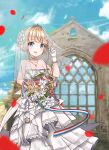 1girl :d absurdres adjusting_clothes adjusting_headwear alternate_costume arm_up azur_lane bare_shoulders blue_sky blurry bouquet bow bridal_veil building choker church clouds cloudy_sky collarbone commentary_request depth_of_field dress eyebrows_visible_through_hair flower frilled_dress frills gloves hair_bow hair_ribbon highres holding holding_bouquet jewelry le_triomphant_(azur_lane) looking_at_viewer necklace off-shoulder_dress off_shoulder open_mouth petals reflection ribbon rose short_hair sidelocks sky smile solo tiara veil wedding_dress white_dress white_gloves wind window zidong_fanmai_jii_o3