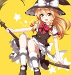 1girl bangs black_footwear black_headwear black_skirt black_vest blonde_hair bow bowtie braid broom broom_riding frilled_hat frills hair_bow hat hat_bow highres holding holding_broom kirisame_marisa long_hair looking_at_viewer open_mouth petticoat puffy_short_sleeves puffy_sleeves red_bow red_neckwear ruu_(tksymkw) shirt short_sleeves side_braid simple_background single_braid sitting skirt smile solo star_(symbol) touhou vest white_bow white_legwear white_shirt witch_hat yellow_background yellow_eyes