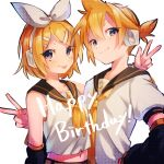 1boy 1girl :p bass_clef birthday black_sailor_collar blonde_hair bow closed_eyes detached_sleeves english_text hair_bow hair_ornament hairclip happy_birthday headphones highres kagamine_len kagamine_rin navel neck_ribbon nuko_0108 ribbon sailor_collar sailor_shirt shirt short_hair short_sleeves smile tongue tongue_out treble_clef violet_eyes vocaloid white_background white_bow white_headwear white_shirt yellow_ribbon