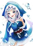 1girl absurdres animal_costume animal_hood bangs blue_eyes blue_hair blue_hoodie blush bubble claw_pose cowboy_shot fish_tail gao gawr_gura grey_nails highres hololive hololive_english hood hood_up hoodie lisi long_hair long_sleeves looking_at_viewer multicolored_hair nail_polish open_mouth shark_costume shark_girl shark_hood shark_tail sidelocks silver_hair simple_background sleeves_past_wrists solo streaked_hair tail teeth virtual_youtuber white_background