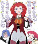 1boy 2girls atsumi_yoshioka gen_1_pokemon james_(pokemon) jessie_(pokemon) jessiebelle_rumika meowth multiple_girls pokemon pokemon_(anime) scared smile team_rocket whip