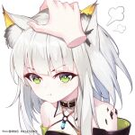 1girl :t animal_ear_fluff animal_ears arknights bangs bare_shoulders blunt_bangs blush cat_girl chinese_commentary closed_mouth collar commentary_request disembodied_limb eyebrows_visible_through_hair ge_zhong_kuaile green_eyes kal'tsit_(arknights) long_hair lynx_ears o-ring oripathy_lesion_(arknights) petting pixiv_id pout silver_hair simple_background solo_focus upper_body v-shaped_eyebrows white_background