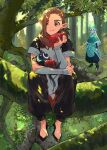 0oizuo0 3boys absurdres apple aqua_hair black_cat black_eyes black_pants brown_hair cat dappled_sunlight eating food fruit full_body highres leaf long_hair luoxiaohei luozhu_(the_legend_of_luoxiaohei) multiple_boys nature outdoors pants pointy_ears short_sleeves sitting sunlight the_legend_of_luo_xiaohei tree xuhuai_(the_legend_of_luoxiaohei)