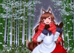 1girl animal_ear_fluff animal_ears bamboo bamboo_forest blush brown_gloves brown_hair brown_tail checkered checkered_scarf dress eyebrows_visible_through_hair fangs forest gloves highres imaizumi_kagerou knnet long_hair looking_at_viewer multicolored multicolored_clothes multicolored_dress nature night open_mouth outdoors red_dress red_eyes red_scarf scarf smile snow snowflakes snowing solo tail touhou very_long_hair waving white_dress wolf_ears wolf_girl wolf_tail