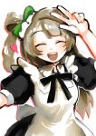 1girl :d ^_^ alternate_costume apron black_dress black_ribbon blush bow breasts closed_eyes dress enmaided eyebrows_visible_through_hair green_bow hair_bow hair_rings hand_up heart highres light_brown_hair long_hair love_live! love_live!_school_idol_project maid maid_headdress medium_breasts minami_kotori nichi_(hibi_suimin) one_side_up open_mouth puffy_short_sleeves puffy_sleeves ribbon short_sleeves simple_background smile solo teeth white_apron white_background